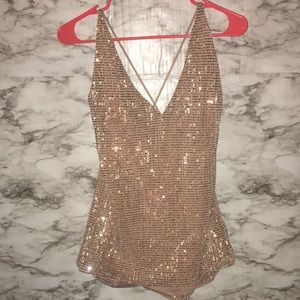 Express-Gold Criss Cross Sequins Tank Top